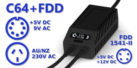 C64 FDD Dual PSU OLED Digital Black AU