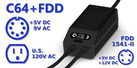 C64 FDD Dual PSU OLED Digital Black US